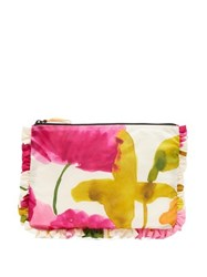 La Doublej Flower Print Frilled Satin Pouch Pink Multi