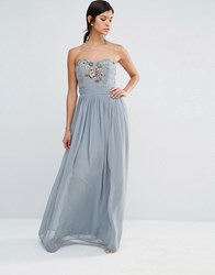 Maya Bandeau Embriodered Maxi Dress Dove Grey