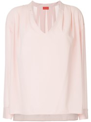 Des Pres Draped V Neck Blouse Pink And Purple