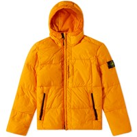 Stone Island Garment Dyed Crinkle Reps Hooded Down Jacket Orange