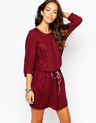 Esprit Gather Waist Shift Dress 600Bordeaux