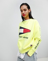 Tommy Jeans Jean 90S Capsule 5.0 Sailing Flag Logo Sweatshirt Safety Yellow