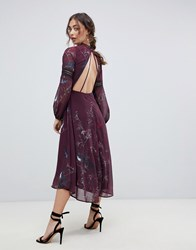 Hope And Ivy Long Sleeve Open Back Midi Dress With Crochet Trim In Bird Print Berry Print Multi