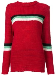 The Elder Statesman Striped Panel Knitted Jumper Red