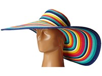 San Diego Hat Company Ubx2721 Striped Floppy 8 Inch Brim Sun Hat Multi Blue Caps