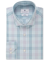 Ryan Seacrest Distinction Slim Fit Non Iron Blue Ocean Multi Check Dress Shirt