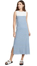 Current Elliott The Perfect Muscle Tee Dress Blue Stripe With Bleach
