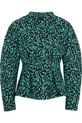 Proenza Schouler Pleated Boucle Jacket Turquoise