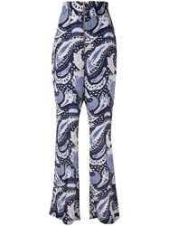 Alice Mccall Paisley Wide Leg Trousers Blue