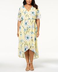 Ny Collection Plus Size Printed Faux Wrap Dress Pale Impressed