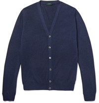 Incotex Knitted Cotton Cardigan Blue