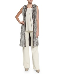 Halston Rabbit Fur Blocked Sweater Vest