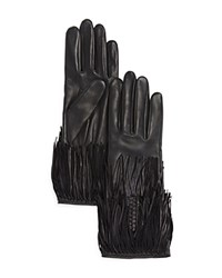Agnelle Leather Gloves With Fringe Black