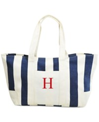 Cathy's Concepts Personalized Navy Striped Canvas Tote H