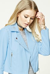 Forever 21 Studded Faux Leather Moto Jacket Sky Blue