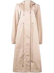 Maison Martin Margiela Mm6 Oversized Hooded Trench Coat Nude Neutrals