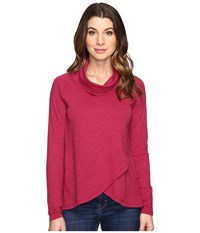 Mod O Doc Slub Jersey Slouchy Funnel Crossover Hem Tee Cranberry Women's T Shirt Red