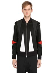 Neil Barrett Intarsia Satin And Neoprene Bomber Jacket