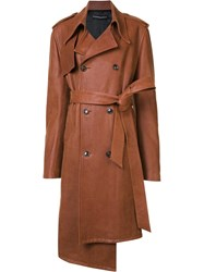Y Project Leather Coat Brown