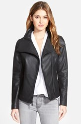 Women's T Tahari 'Angelina' Zip Collar Leather Moto Jacket