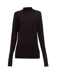 Raey Sheer Raw Edge Funnel Neck Cashmere Sweater Black