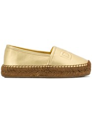 Dolce And Gabbana Logo Stamp Espadrilles Metallic