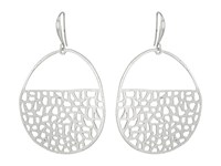 Robert Lee Morris Geometric Cut Out Gypsy Hoop Earrings Soft Silver Earring