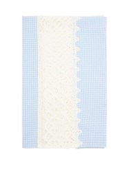 Luisa Beccaria 50Cm X 160Cm Crochet And Gingham Cotton Tablecloth Blue