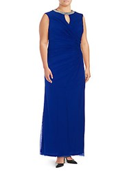 Marina Plus Size Solid Ruched Sleeveless Dress Royal