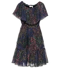 Chloe Printed Cotton And Silk Blend Crepon Dress Multicoloured