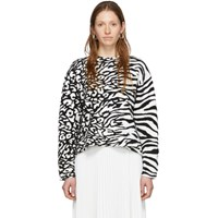 Proenza Schouler White And Black White Label Animal Jacquard Knit Sweater