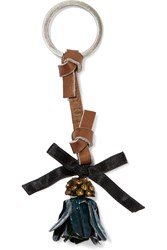 Marni Leather Enamel And Crystal Keychain Green