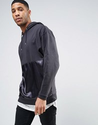 Asos Oversized Longline Hoodie With Satin Panel Black