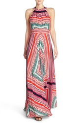 Women's Eliza J Scarf Print Crepe De Chine Fit And Flare Maxi Dress
