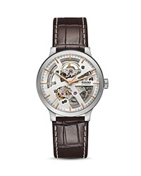 Rado Centrix Open Heart Watch With Leather Strap 38Mm Silver Brown