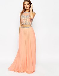 Forever Unique Maisy Two Piece With Embellished Top And Maxi Skirt Coral