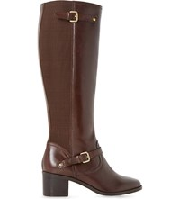 Dune Vivvi Leather Knee High Boots Brown Leather