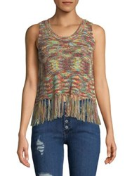 Design Lab Lord And Taylor Pritned Fringe Tank Top Leopard