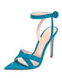 Gianvito Rossi High Heel Suede Crisscross Ankle Strap Sandals Blue