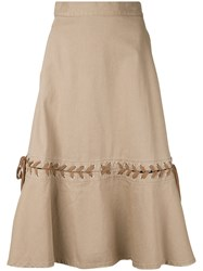 G.V.G.V. Denim Lace Up Skirt Brown