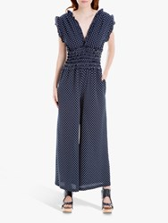 Max Studio Polka Dot Frill Wide Leg Jumpsuit Navy White