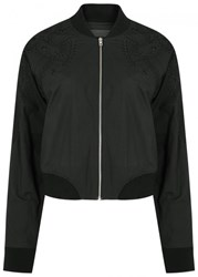 Rag And Bone Jean Bristol Embroidered Cotton Bomber Jacket Black