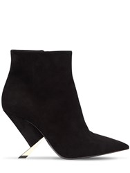 Casadei 90Mm X Blade Suede Ankle Boots Black