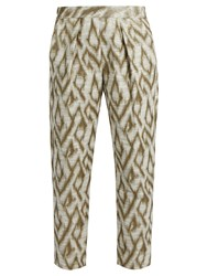 Raquel Allegra Abstract Jacquard Cotton Blend Trousers Gold Multi