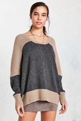 Bdg Marled Colorblock Pullover Sweater Taupe