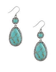 Lucky Brand Pave Peacock Semi Precious Reconstituted Calcite Silvertone Drop Earrings Turquoise