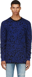 Mcq By Alexander Mcqueen Blue And Black Mohair Leopard Sweater