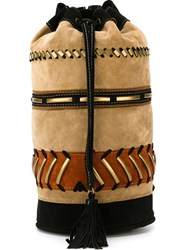 Alberta Ferretti Embellished Patchwork Backpack Nude And Neutrals
