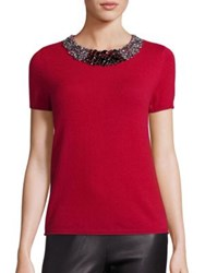 Saks Fifth Avenue Beaded Cashmere Sweater Ivory Red Black Charcoal