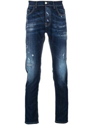 Frankie Morello Distressed Regular Fit Jeans Blue